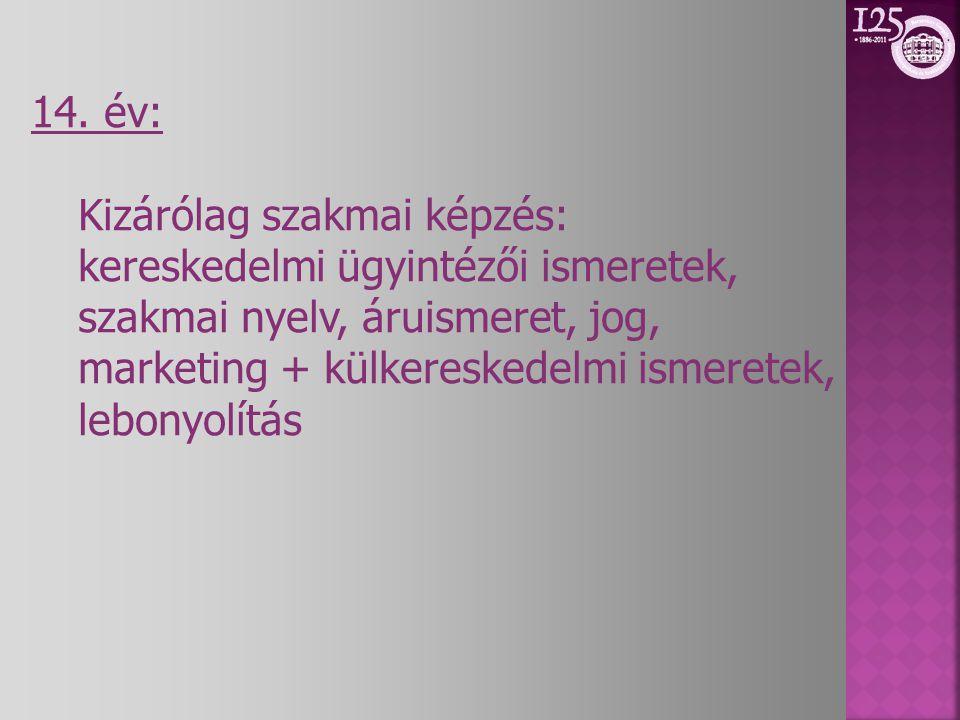 14. év: Kizárólag szakmai képzés: kereskedelmi ügyintézői ismeretek, szakmai nyelv, áruismeret, jog,