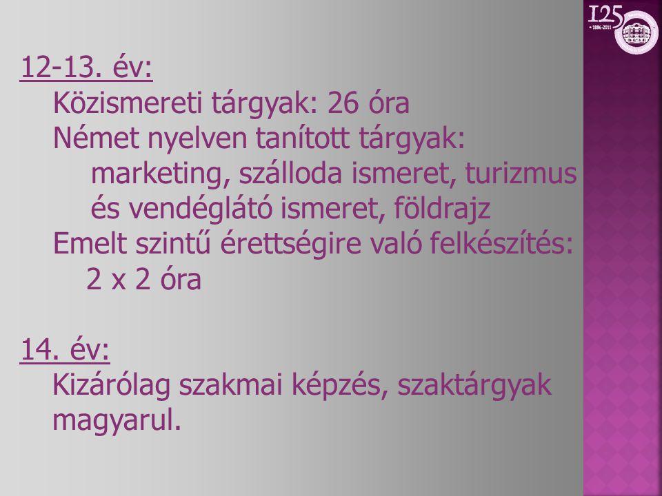 12-13. év: Közismereti tárgyak: 26 óra. Német nyelven tanított tárgyak: marketing, szálloda ismeret, turizmus és vendéglátó ismeret, földrajz.