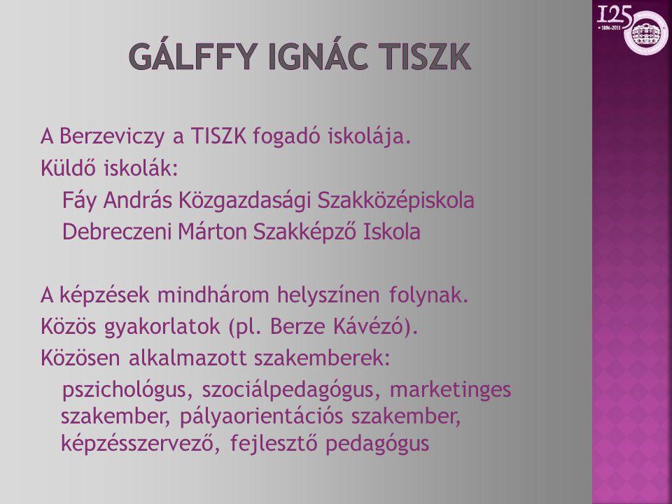 Gálffy IgnáC TISZK A Berzeviczy a TISZK fogadó iskolája.