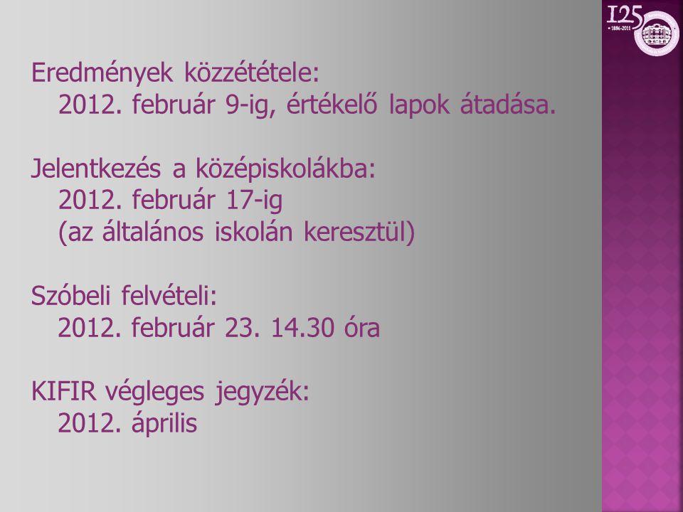 Eredmények közzététele: