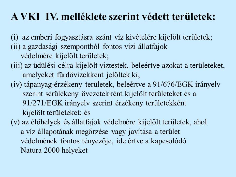 A VKI IV. melléklete szerint védett területek: