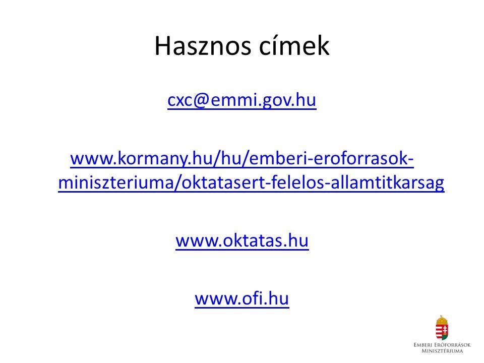 Hasznos címek cxc@emmi.gov.hu www.kormany.hu/hu/emberi-eroforrasok-miniszteriuma/oktatasert-felelos-allamtitkarsag www.oktatas.hu www.ofi.hu