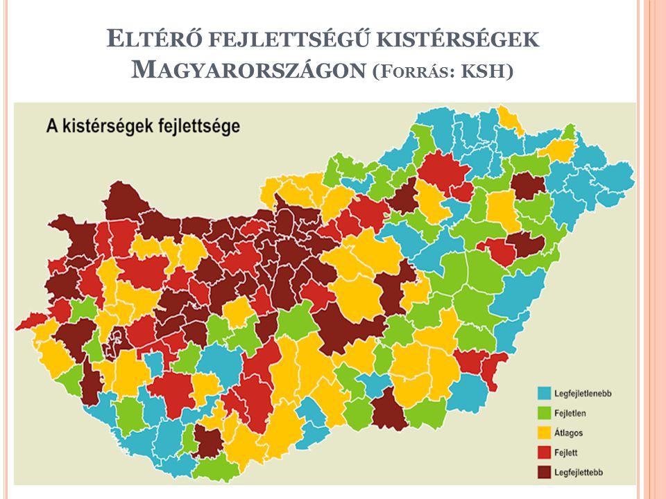 Eltérő fejlettségű kistérségek Magyarországon (Forrás: KSH)