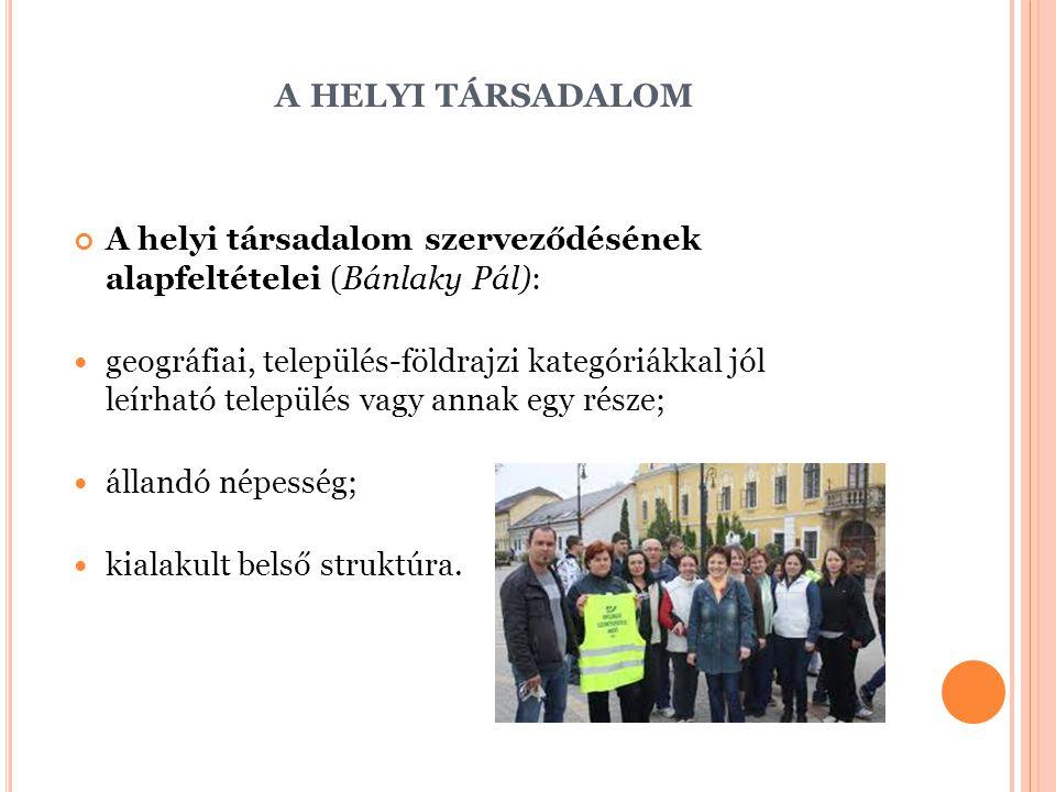 a helyi társadalom A helyi társadalom szerveződésének alapfeltételei (Bánlaky Pál):