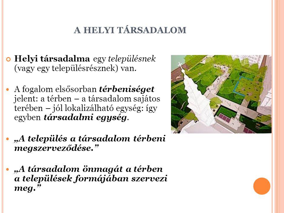 a helyi társadalom Helyi társadalma egy településnek (vagy egy településrésznek) van.