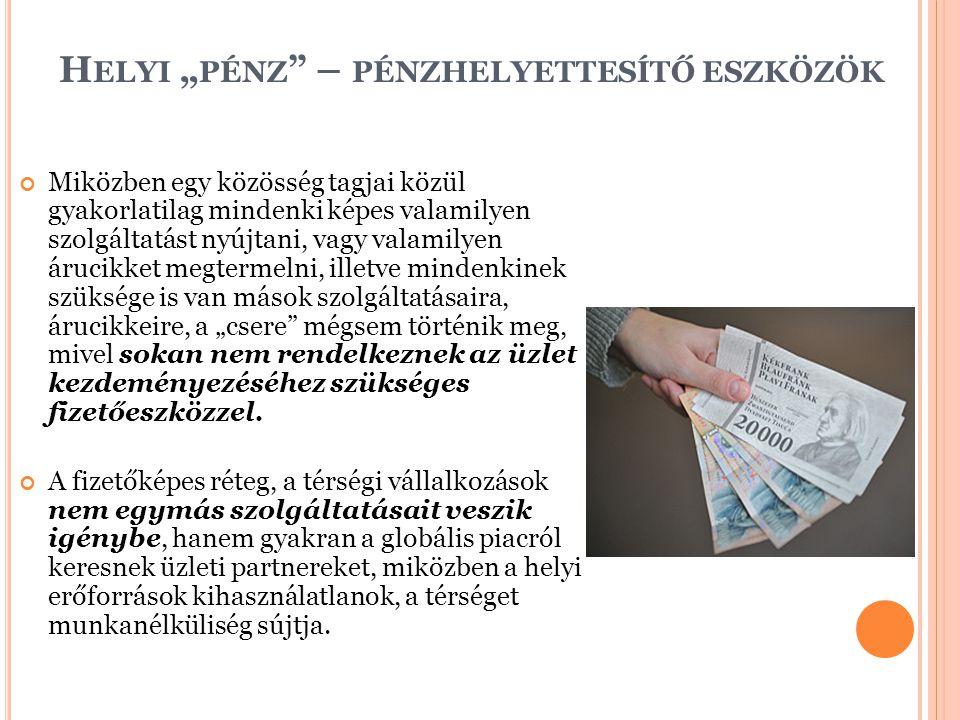"""Helyi """"pénz – pénzhelyettesítő eszközök"""
