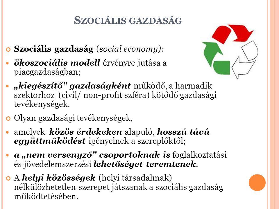 Szociális gazdaság Szociális gazdaság (social economy):