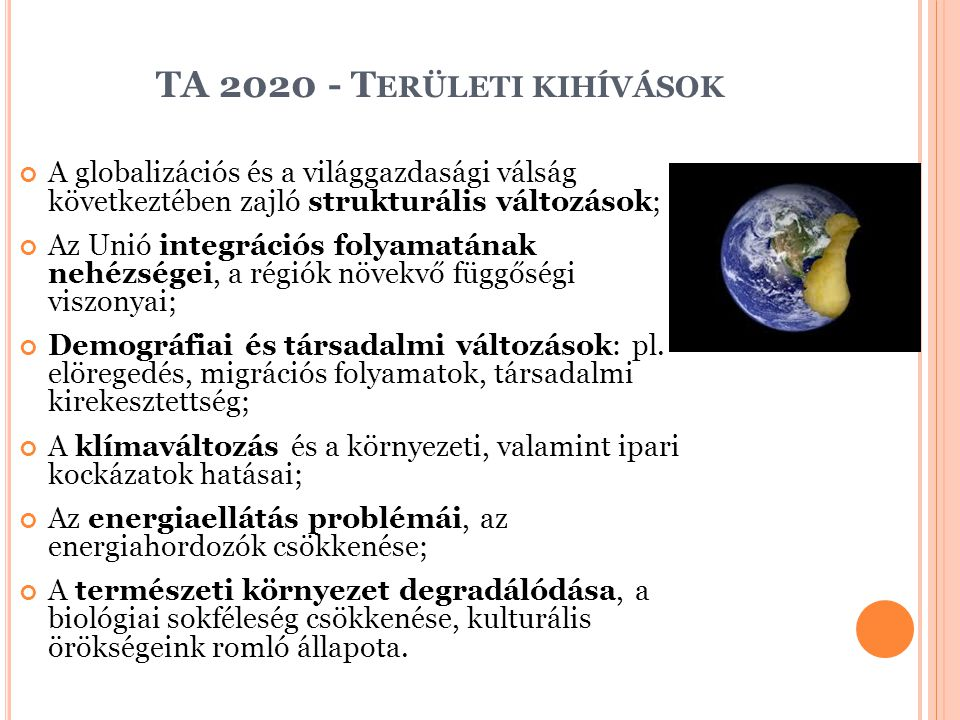 TA 2020 - Területi kihívások