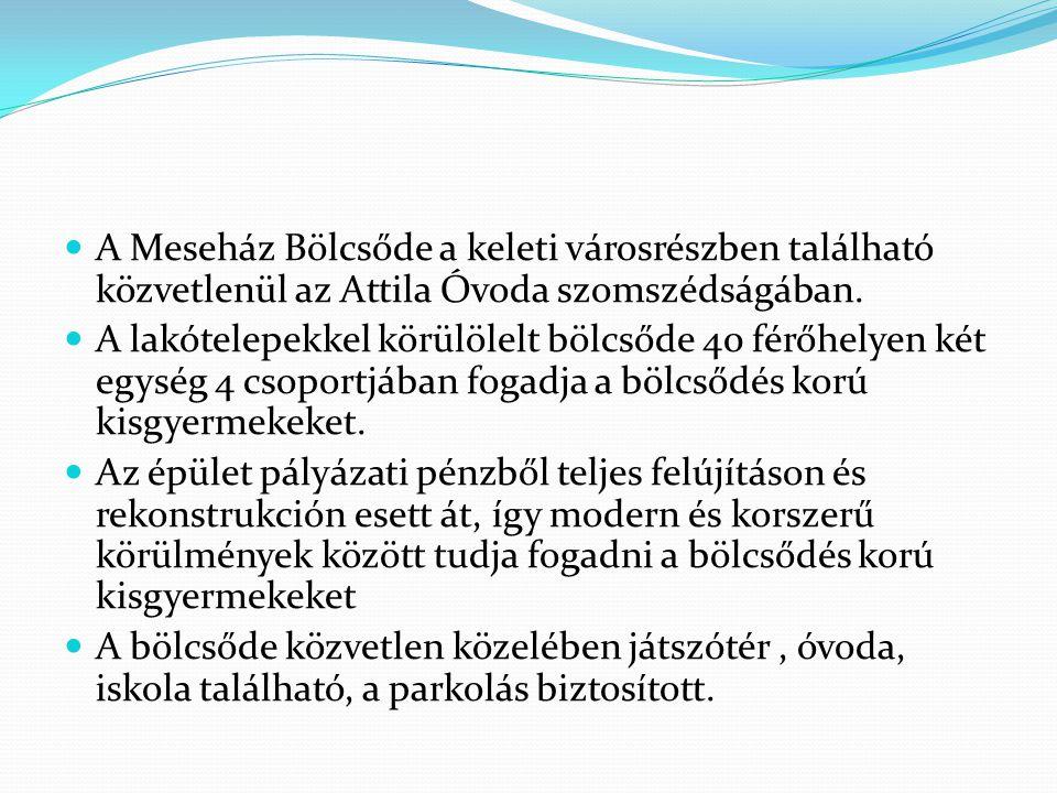 A Meseház Bölcsőde a keleti városrészben található közvetlenül az Attila Óvoda szomszédságában.