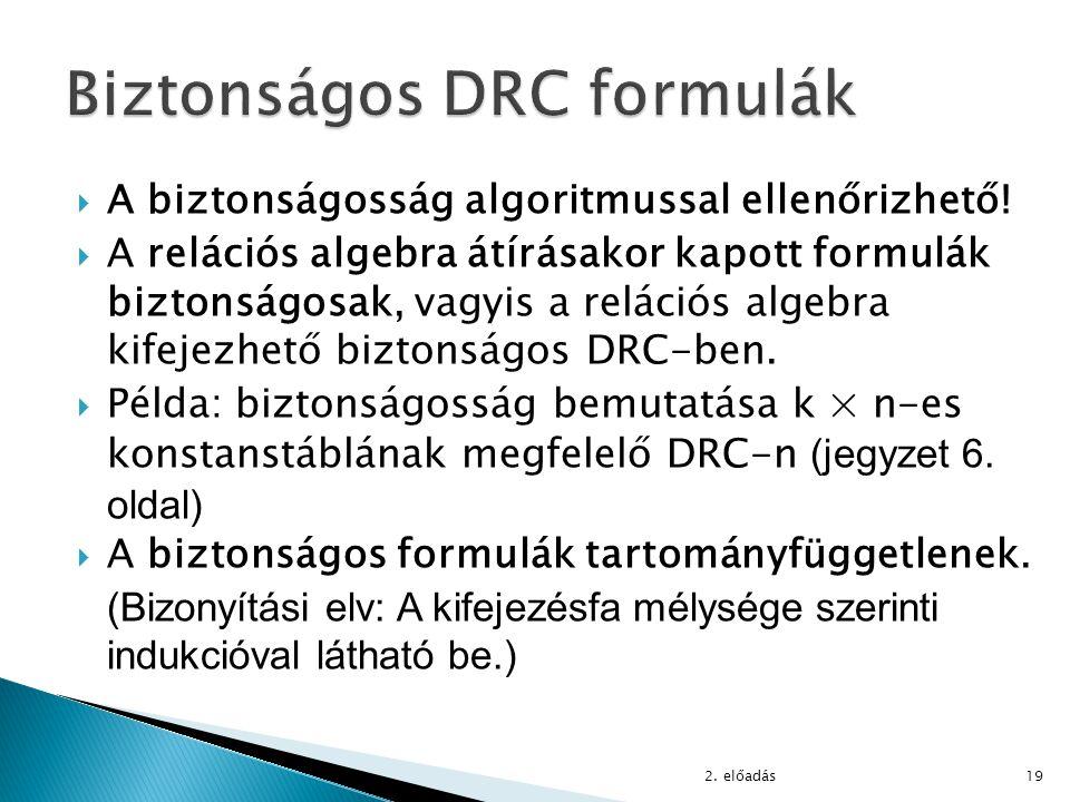 Biztonságos DRC formulák