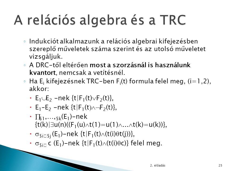 A relációs algebra és a TRC