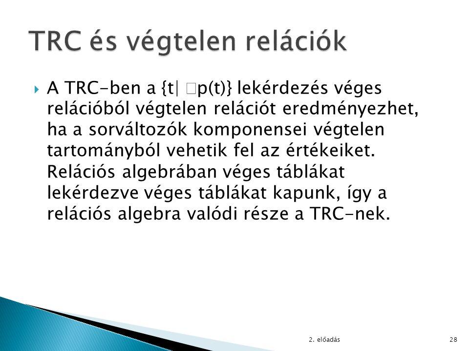 TRC és végtelen relációk
