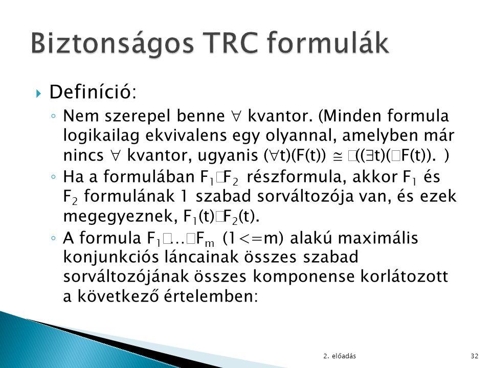 Biztonságos TRC formulák