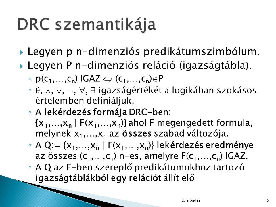 DRC szemantikája Legyen p n-dimenziós predikátumszimbólum.