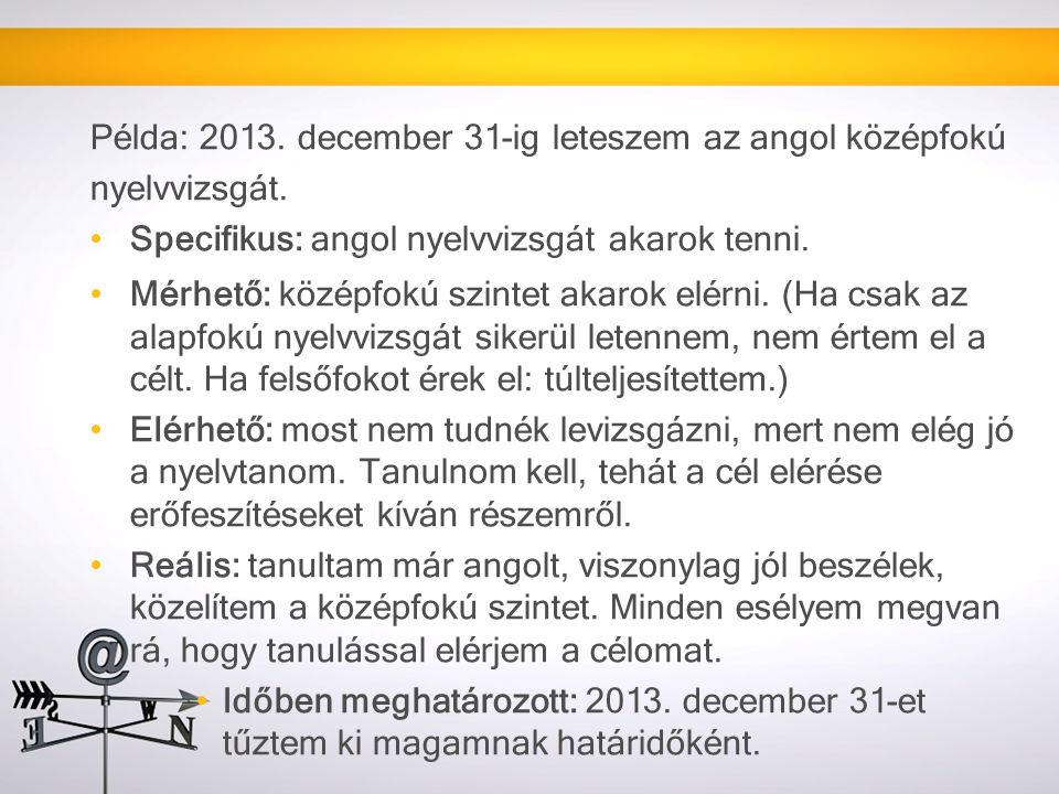 Példa: 2013. december 31-ig leteszem az angol középfokú nyelvvizsgát.