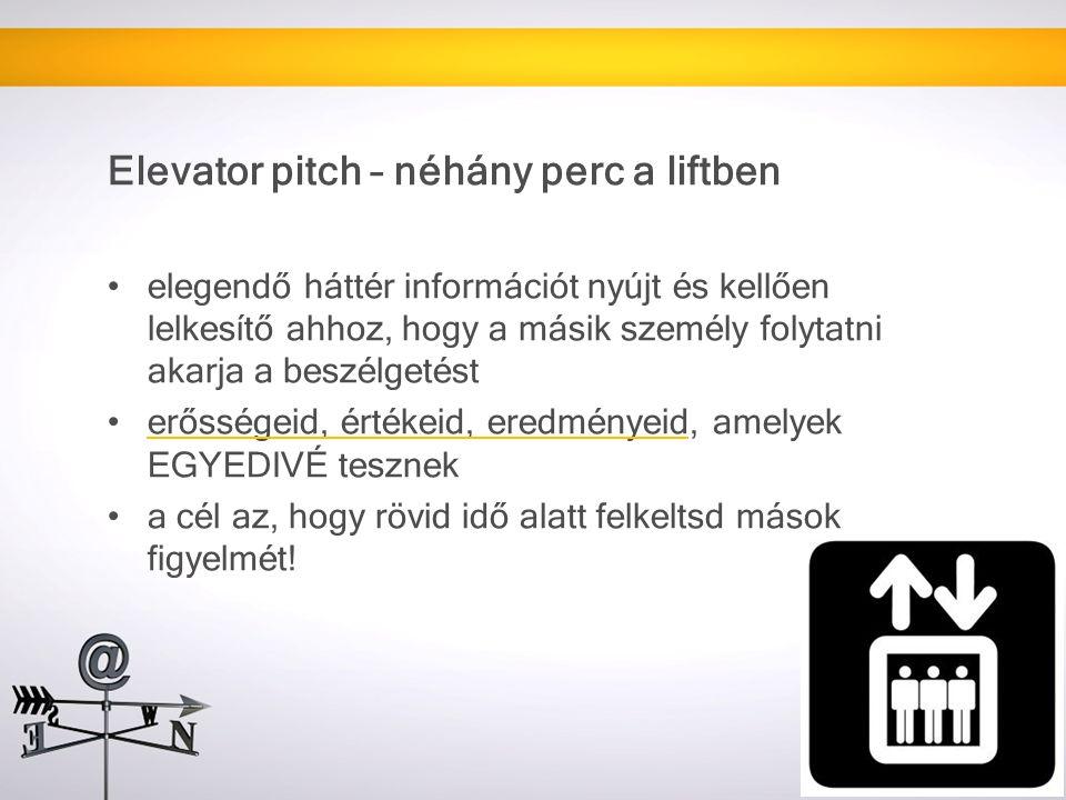 Elevator pitch – néhány perc a liftben