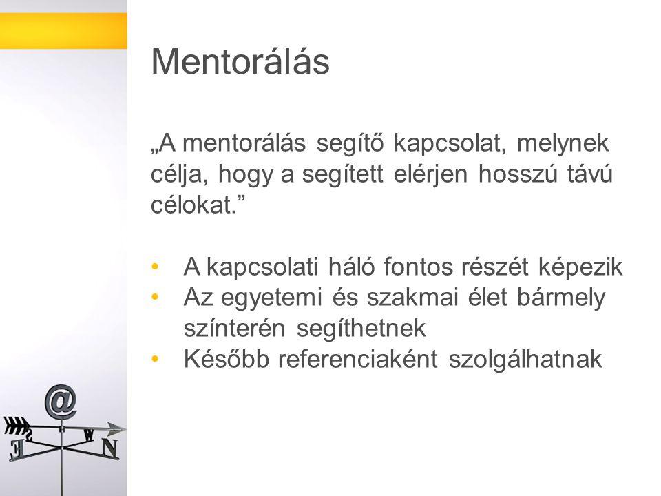 """Mentorálás """"A mentorálás segítő kapcsolat, melynek célja, hogy a segített elérjen hosszú távú célokat."""