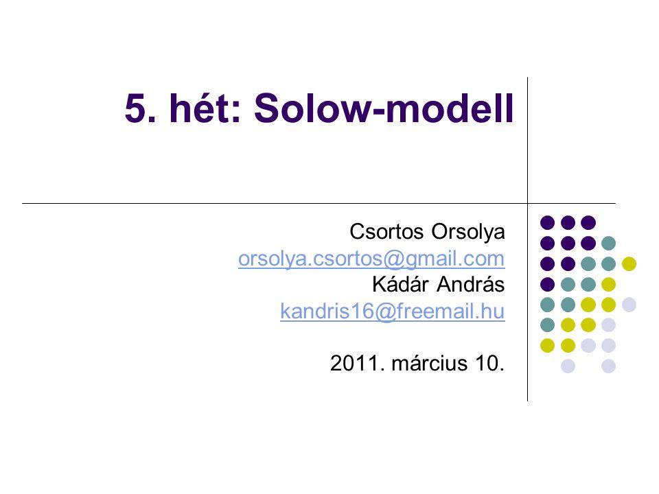5. hét: Solow-modell Csortos Orsolya orsolya.csortos@gmail.com