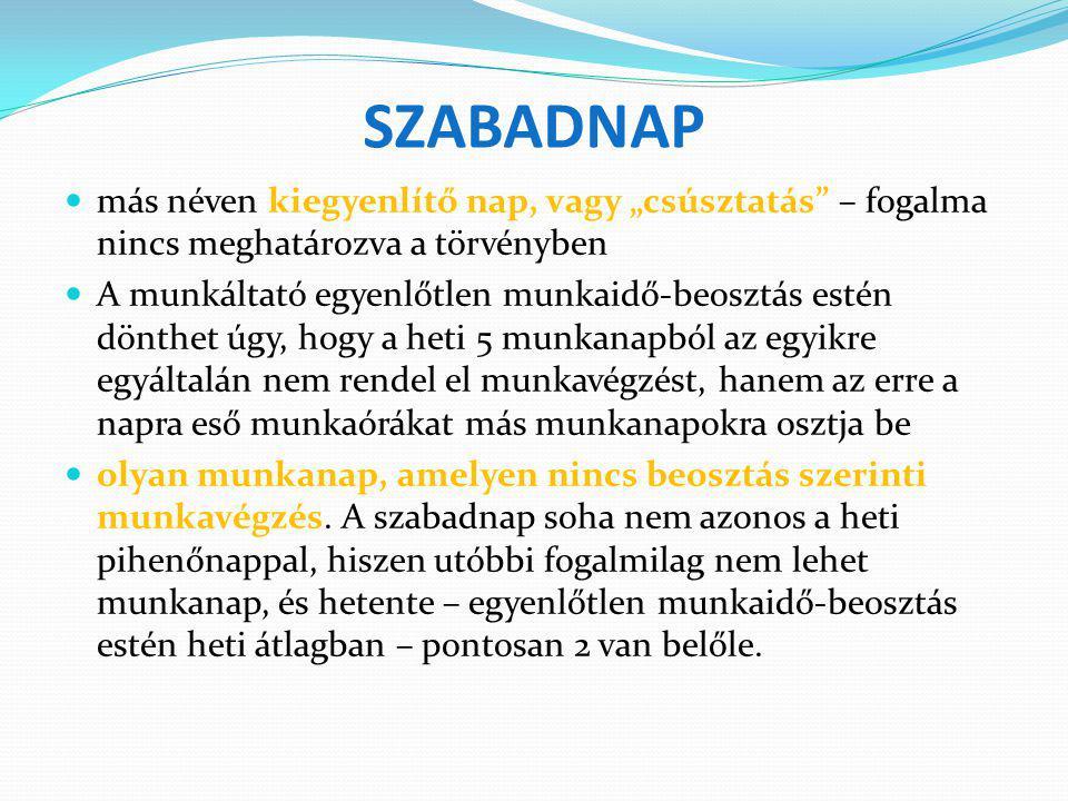 """SZABADNAP más néven kiegyenlítő nap, vagy """"csúsztatás – fogalma nincs meghatározva a törvényben."""