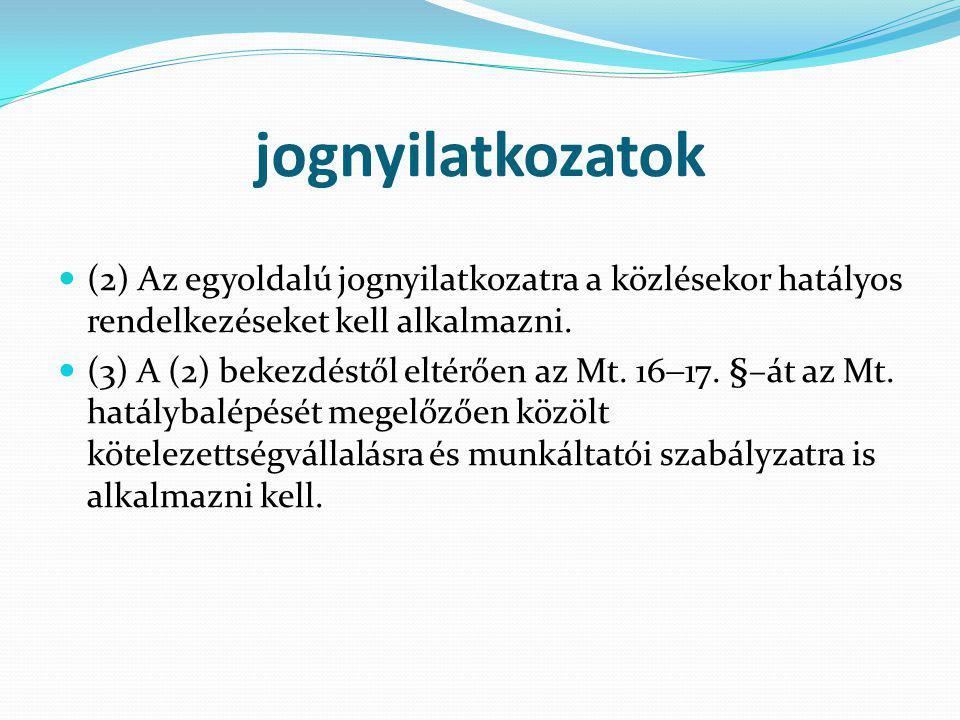 jognyilatkozatok (2) Az egyoldalú jognyilatkozatra a közlésekor hatályos rendelkezéseket kell alkalmazni.