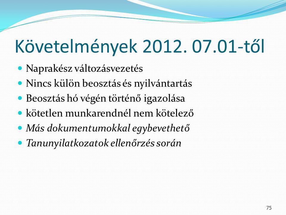 Követelmények 2012. 07.01-től Naprakész változásvezetés