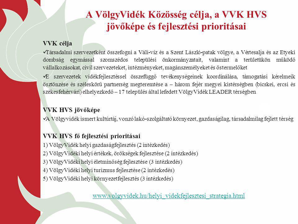 A VölgyVidék Közösség célja, a VVK HVS jövőképe és fejlesztési prioritásai
