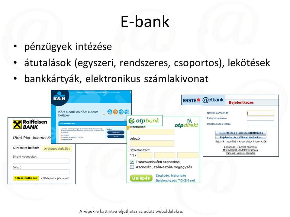 E-bank pénzügyek intézése