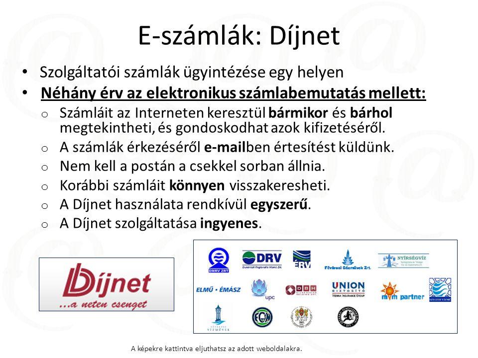 E-számlák: Díjnet Szolgáltatói számlák ügyintézése egy helyen