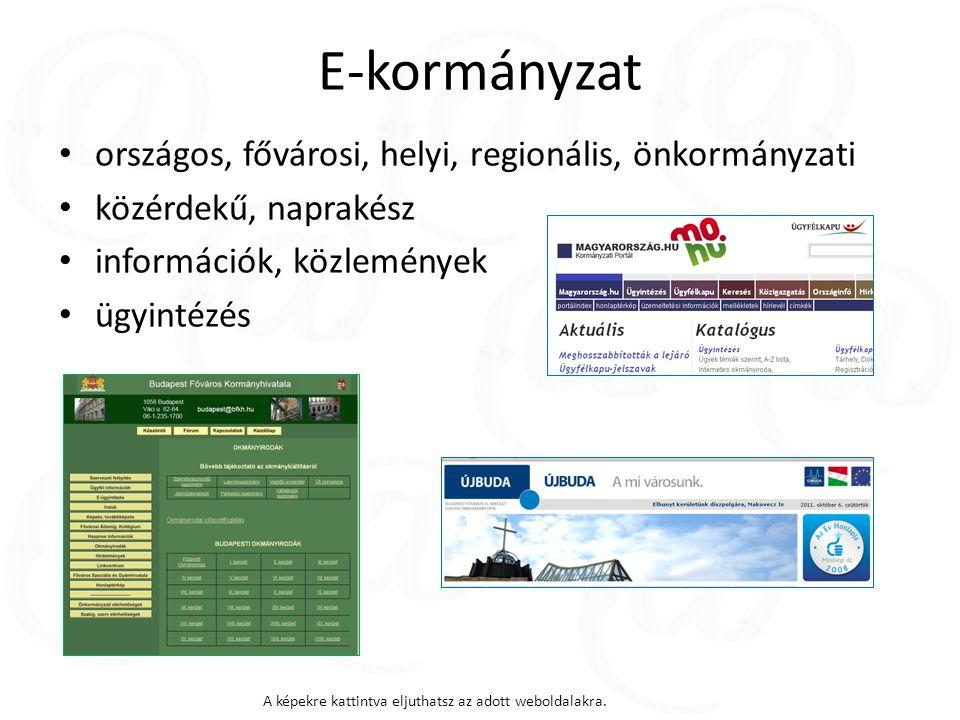 E-kormányzat országos, fővárosi, helyi, regionális, önkormányzati