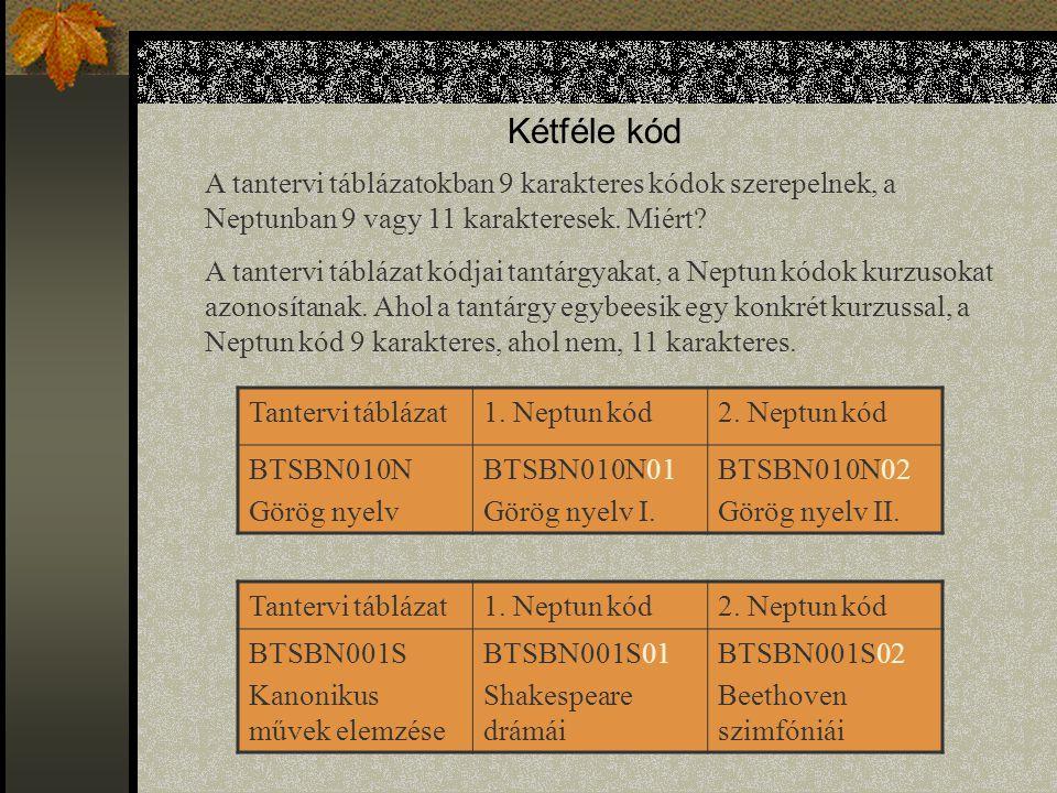 Kétféle kód A tantervi táblázatokban 9 karakteres kódok szerepelnek, a Neptunban 9 vagy 11 karakteresek. Miért