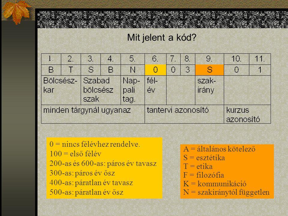 Mit jelent a kód 0 = nincs félévhez rendelve. 100 = első félév
