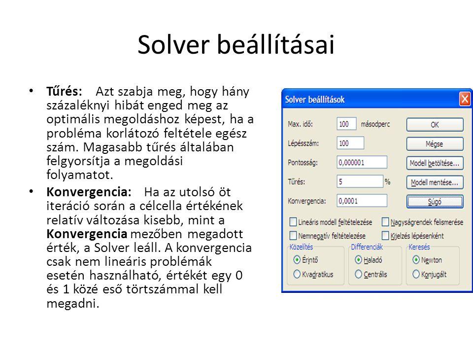 Solver beállításai