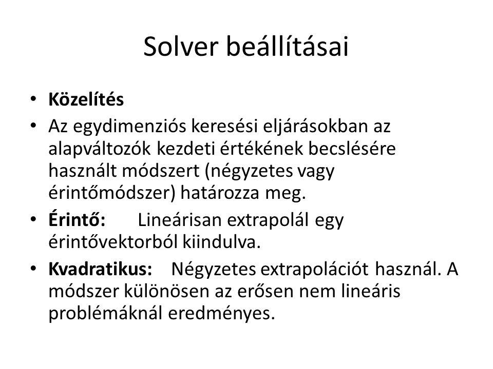 Solver beállításai Közelítés