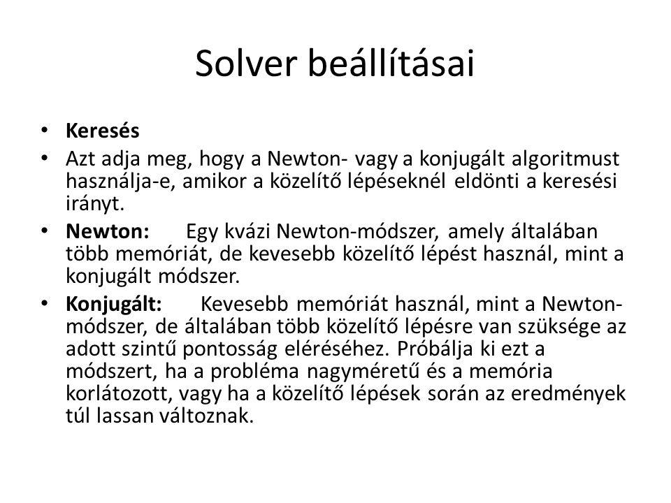 Solver beállításai Keresés