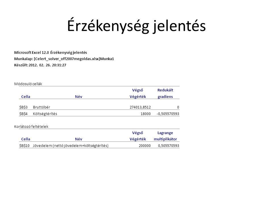 Érzékenység jelentés Microsoft Excel 12.0 Érzékenység jelentés