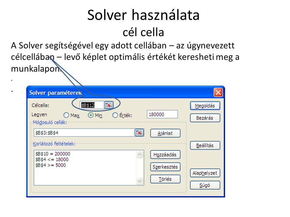 Solver használata cél cella