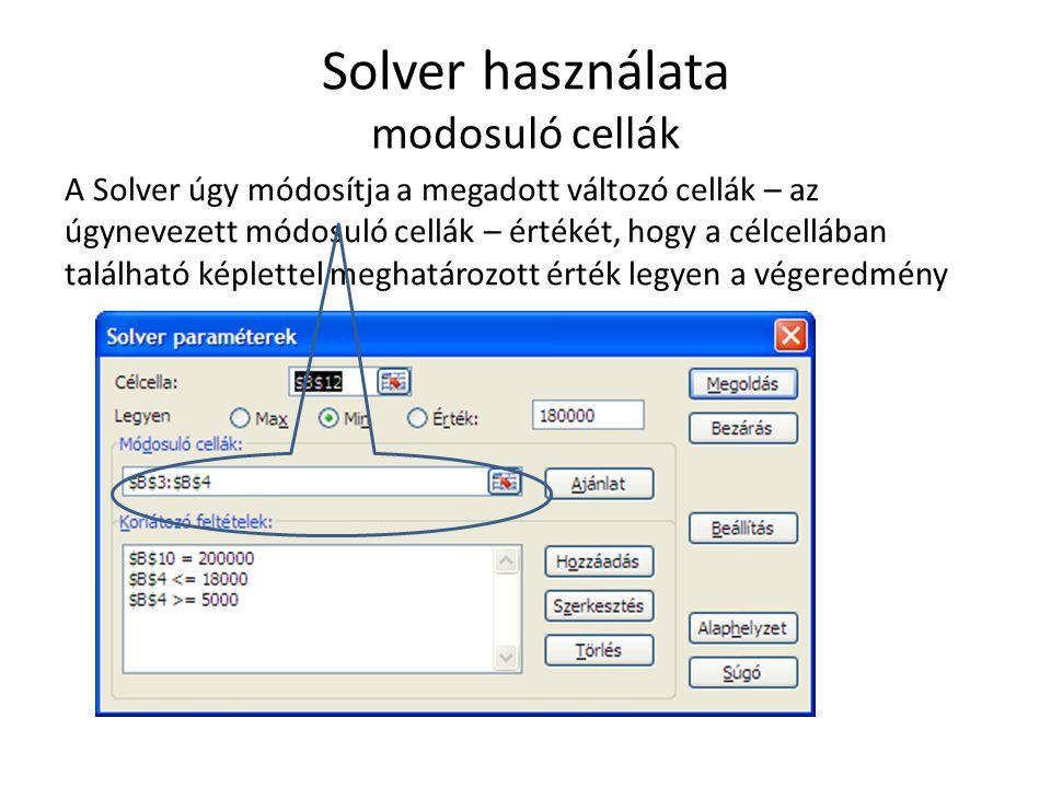 Solver használata modosuló cellák