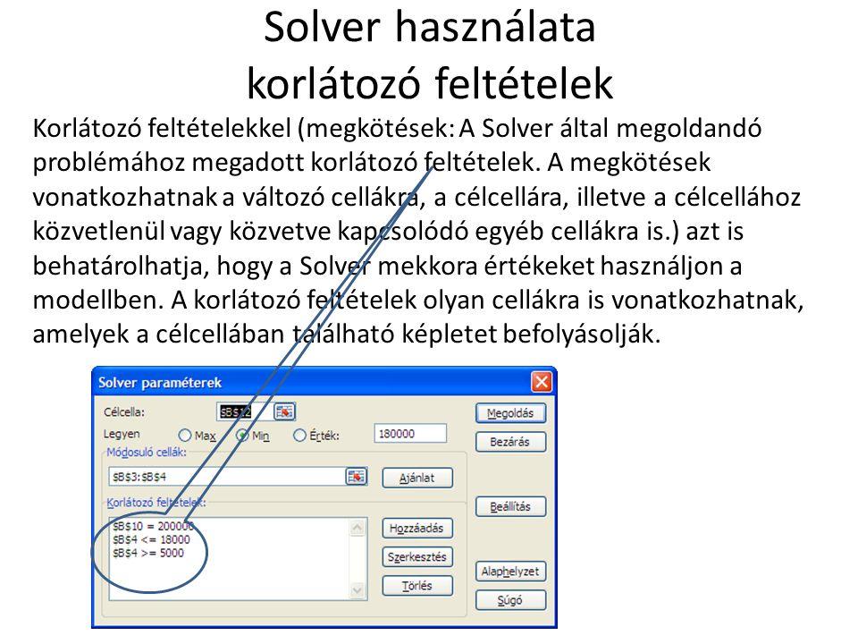 Solver használata korlátozó feltételek