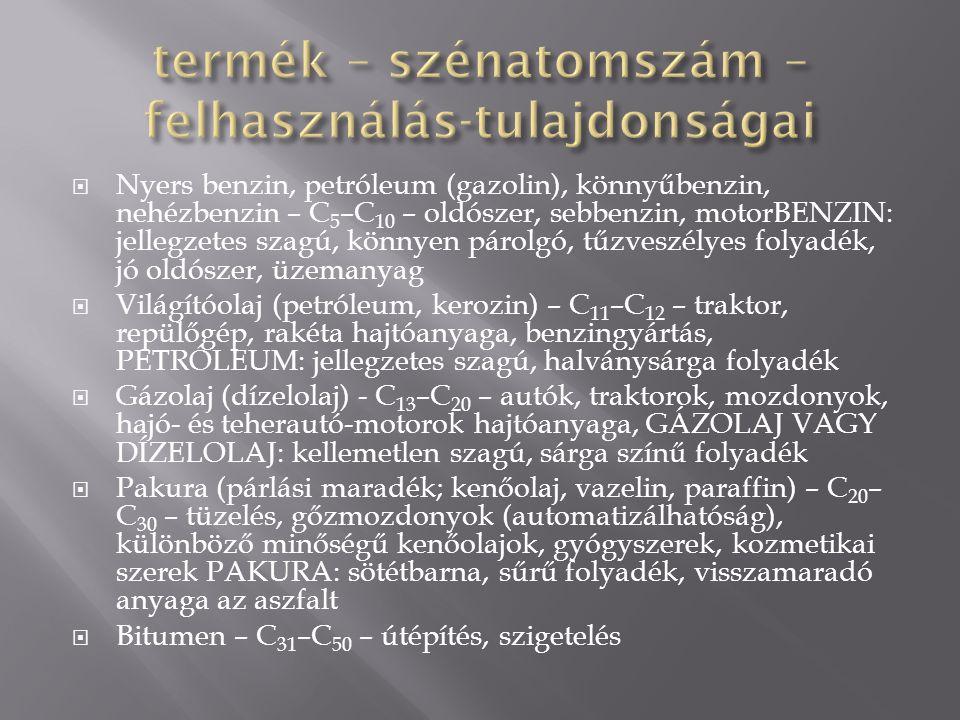 termék – szénatomszám – felhasználás-tulajdonságai