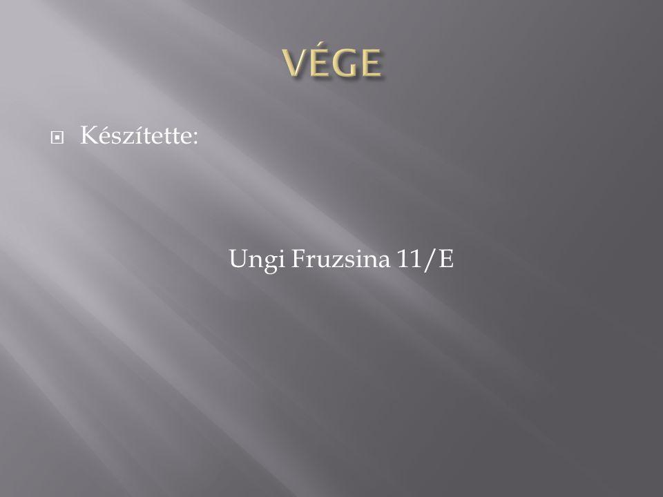 VÉGE Készítette: Ungi Fruzsina 11/E