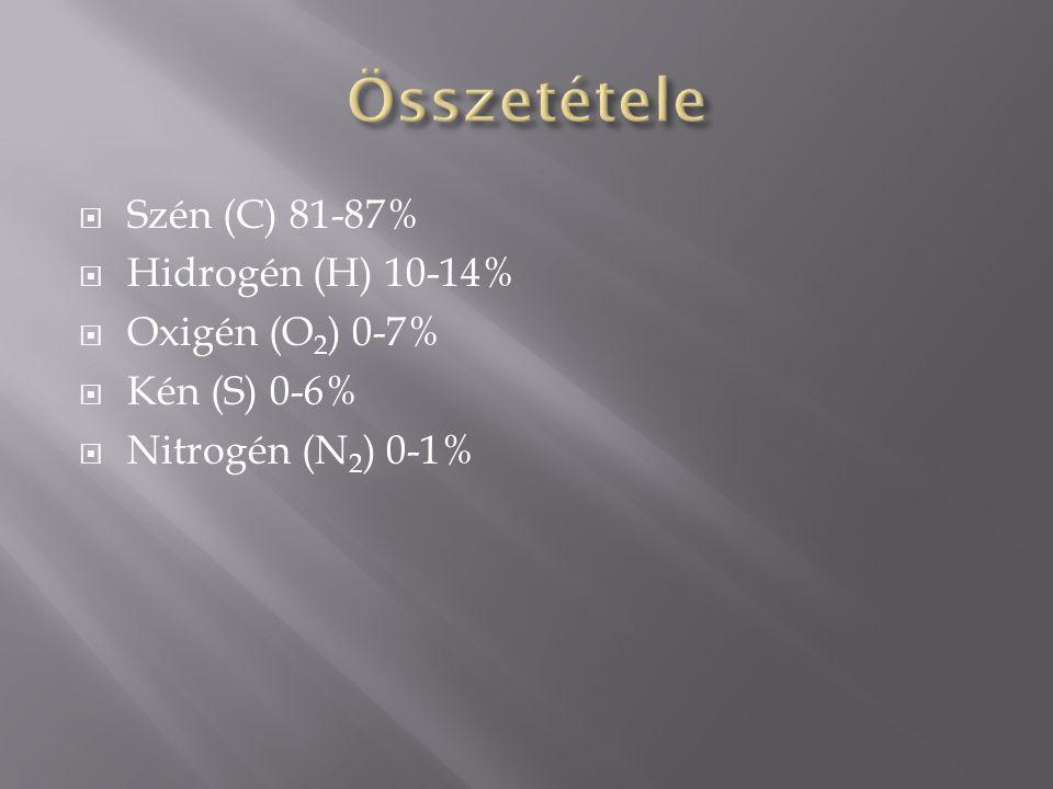 Összetétele Szén (C) 81-87% Hidrogén (H) 10-14% Oxigén (O2) 0-7%