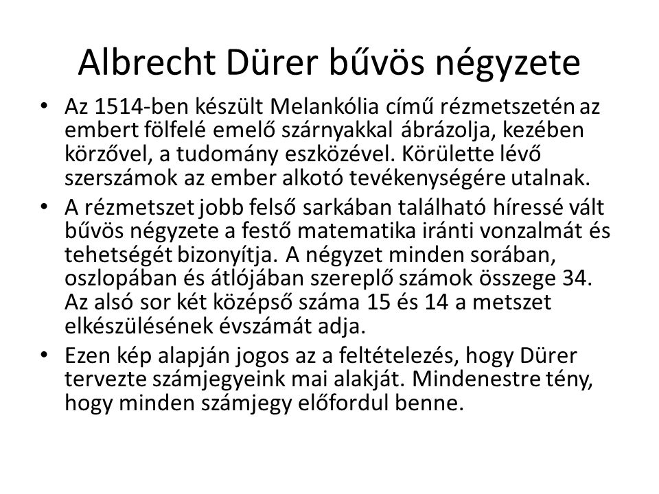 Albrecht Dürer bűvös négyzete