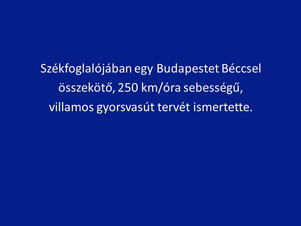 Székfoglalójában egy Budapestet Béccsel összekötő, 250 km/óra sebességű, villamos gyorsvasút tervét ismertette.