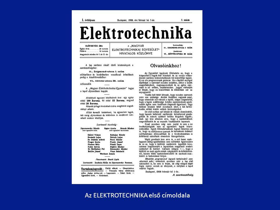 Az ELEKTROTECHNIKA első címoldala