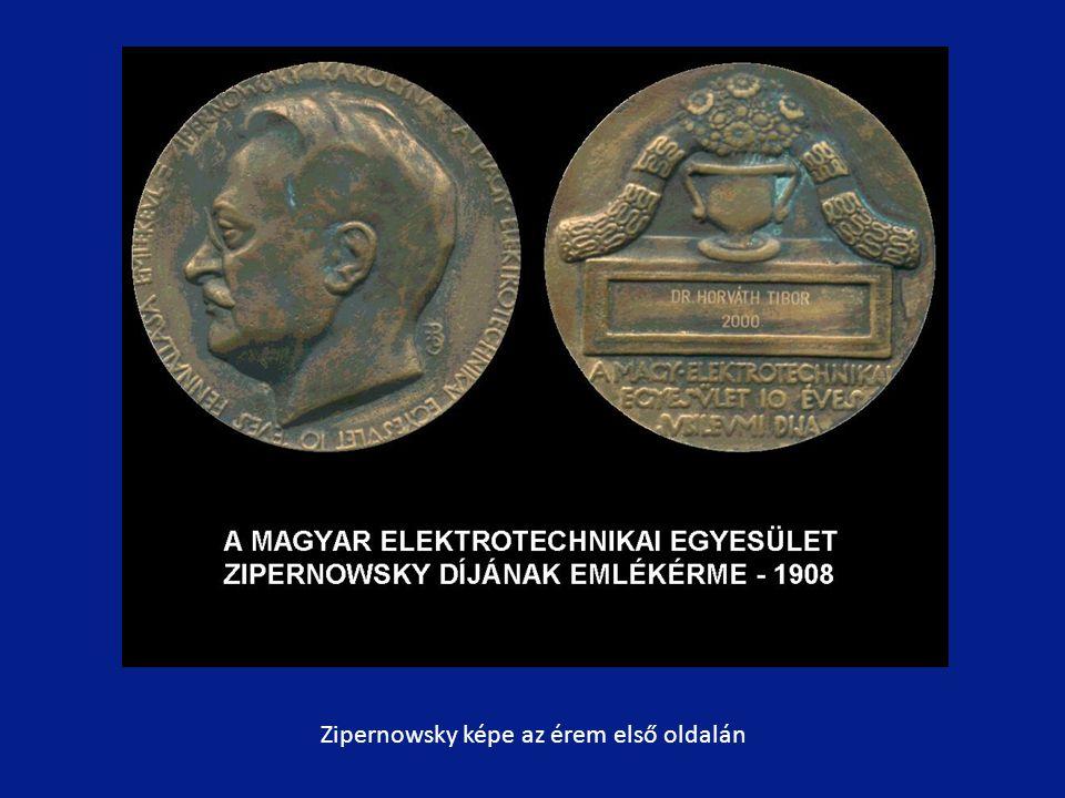 Zipernowsky képe az érem első oldalán