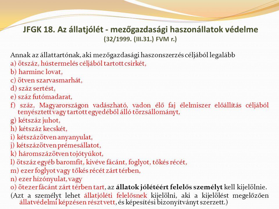 JFGK 18. Az állatjólét - mezőgazdasági haszonállatok védelme (32/1999