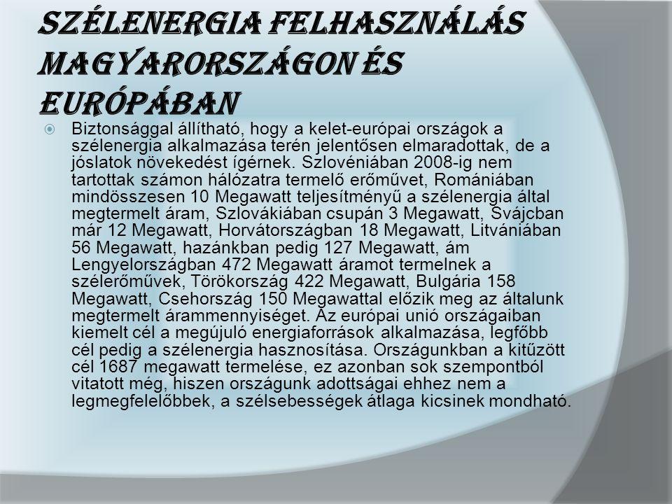 Szélenergia felhasználás Magyarországon és Európában
