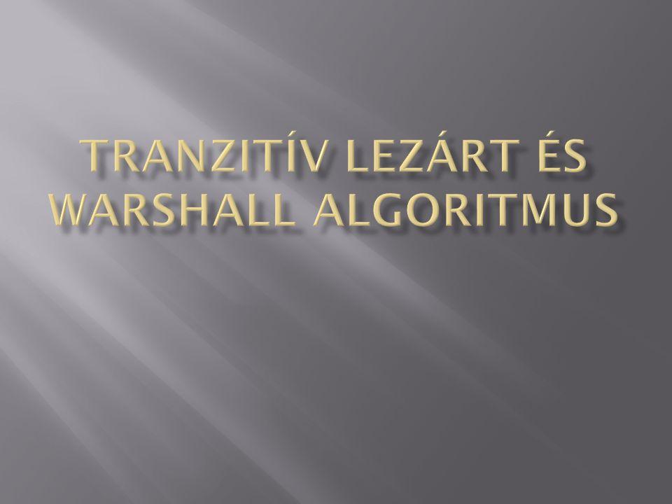 Tranzitív lezárt és Warshall algoritmus