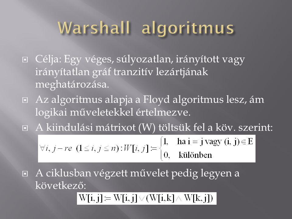 Warshall algoritmus Célja: Egy véges, súlyozatlan, irányított vagy irányítatlan gráf tranzitív lezártjának meghatározása.