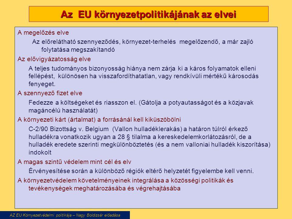Az EU környezetpolitikájának az elvei